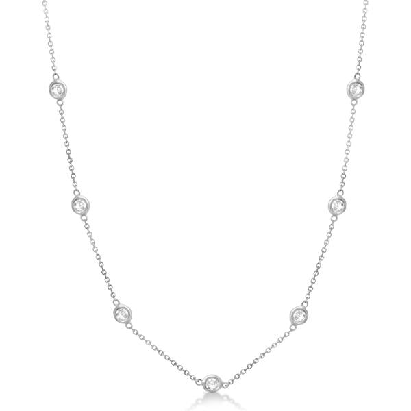 18K White Gold 29 Stone Diamond By The Yard Necklace