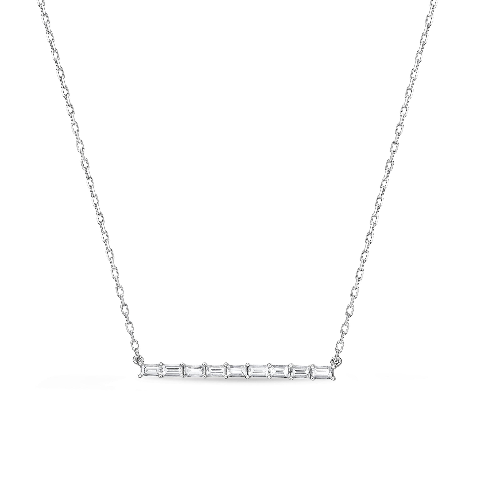 18K White Gold Baguette Bar Necklace