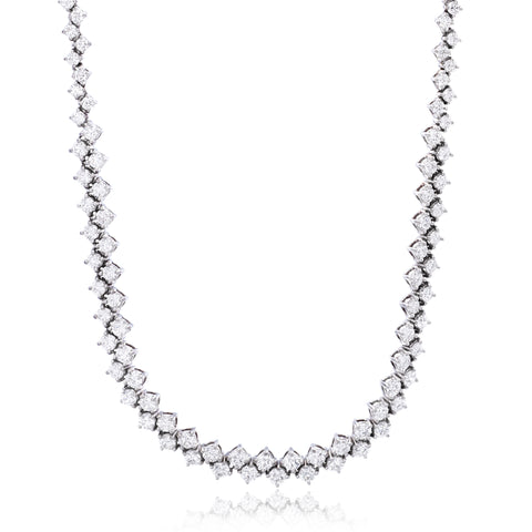 18K White Gold Diamond Zig Zag Necklace