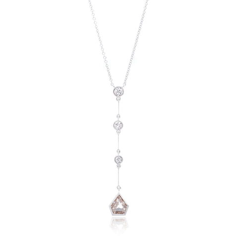 18K White Gold Four Diamond Drop Pendant