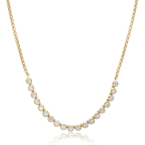 18K Yellow Gold Diamond Bezel Set Moonlight Necklace
