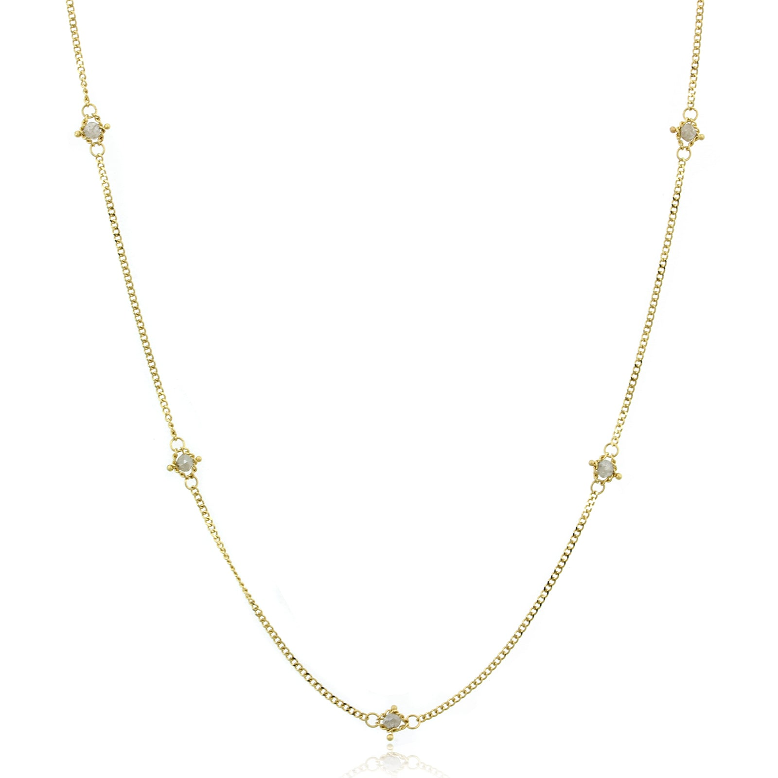 18K Yellow Gold Black Diamond Station Necklace