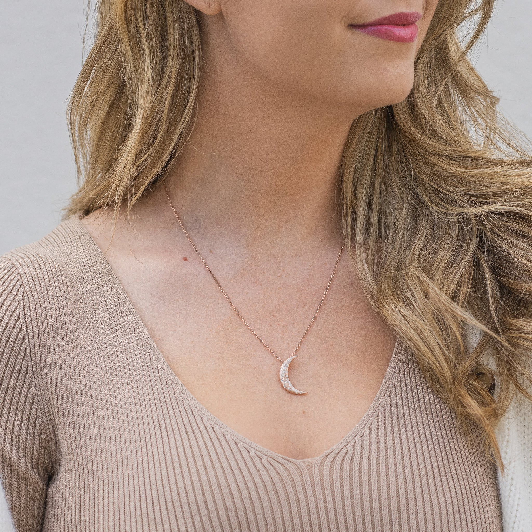18K Rose Gold Diamond Crescent Moon Necklace