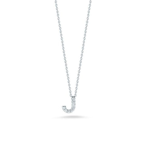 "18K White Gold Tiny Initial ""J"" Diamond Necklace"