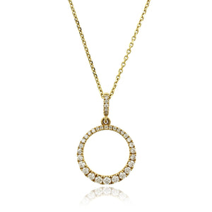 18K Yellow Gold Graduated Circle Diamond Pendant