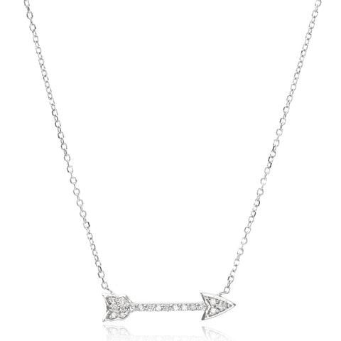14K White Gold Diamond Arrow Necklace