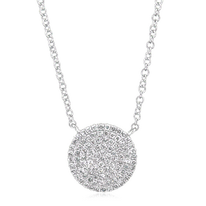 14K White Gold Diamond Pave Circle Pendant