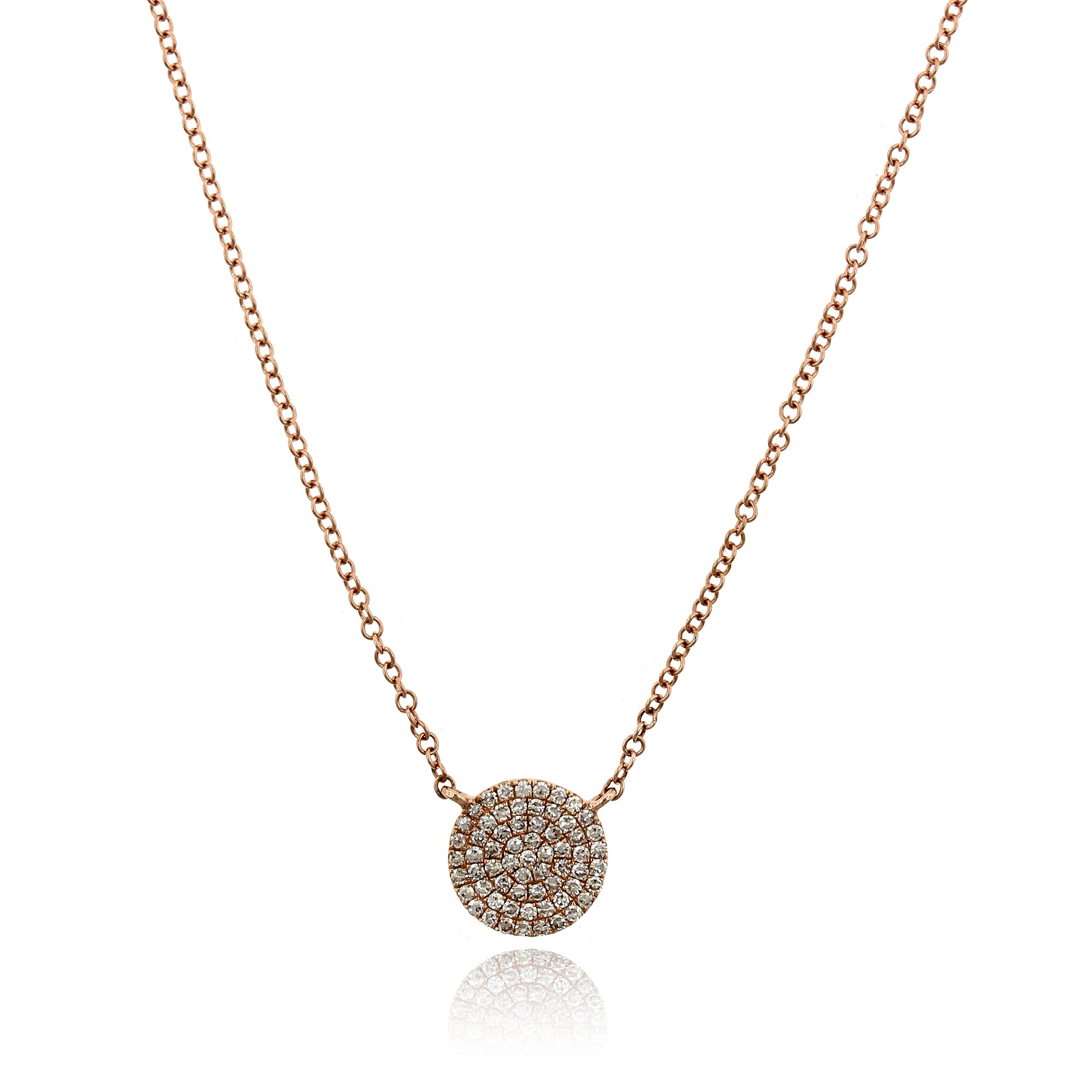 14K Rose Gold Small Diamond Disc Pendant