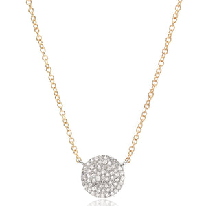 14K Yellow Gold Diamond Circle Necklace