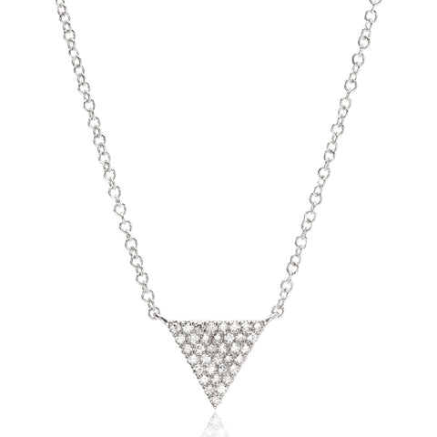 14K White Gold Pave Diamond Triangle Pendant
