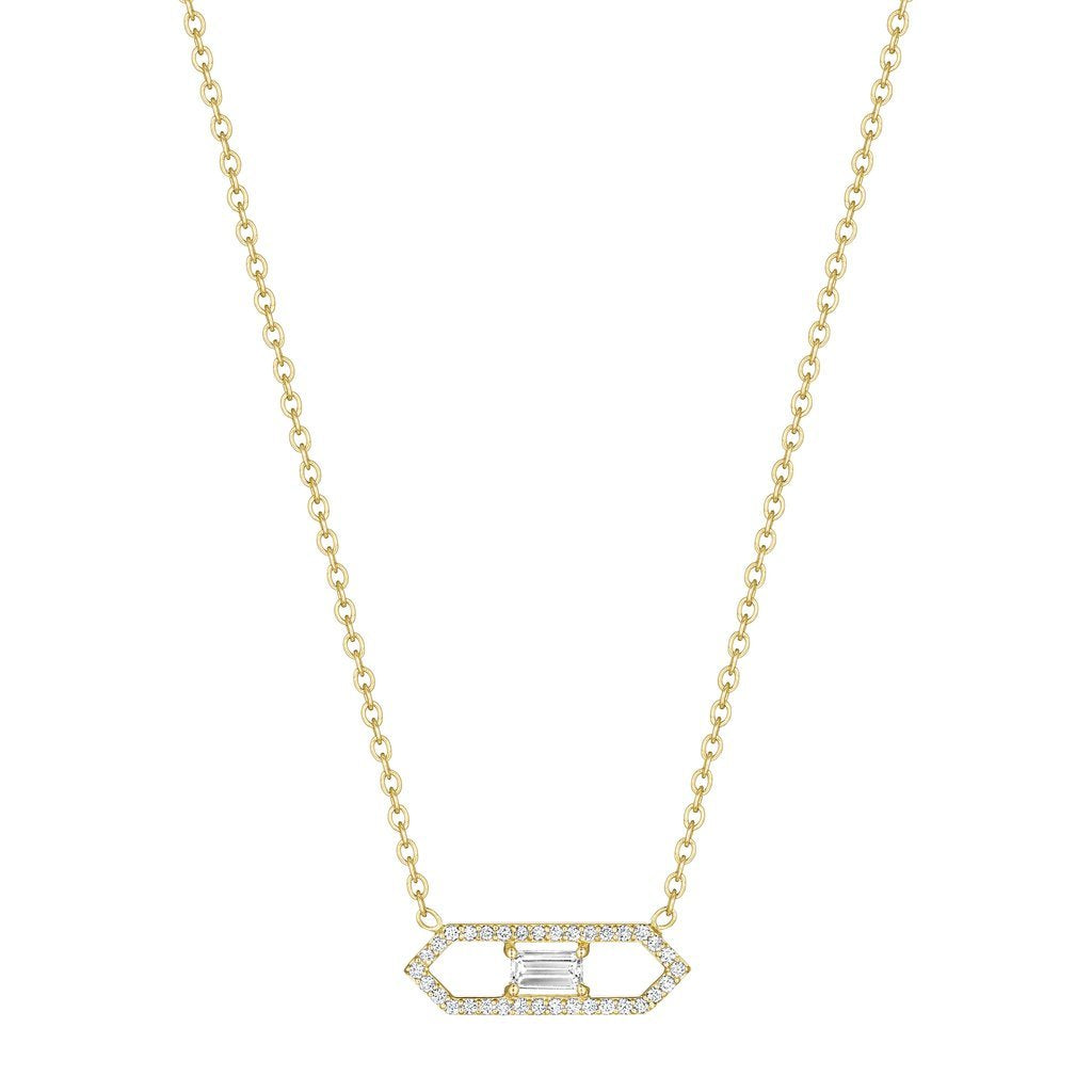 18K Yellow Gold Emerald Cut Diamond Deco Necklace