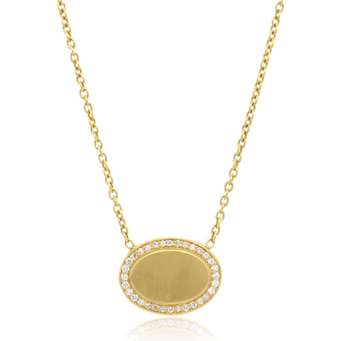 18K Yellow Gold and Diamond Oval Pendant