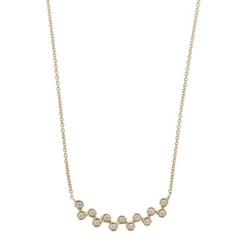 14K Yellow Gold 13 Round Diamond Necklace