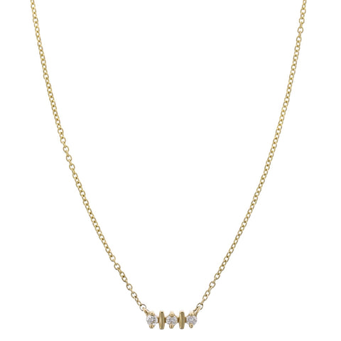 14K Yellow Gold Three Round Diamond Necklace