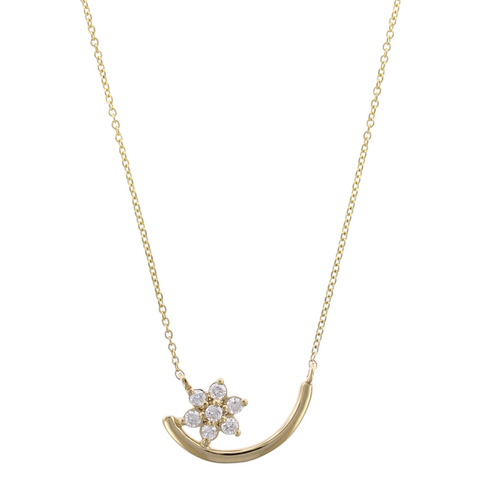 14K Yellow Gold Flower Diamond Curved Bar Necklace