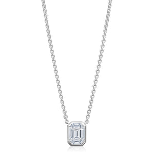 18K White Gold Emerald Cut Illusion Diamond Necklace