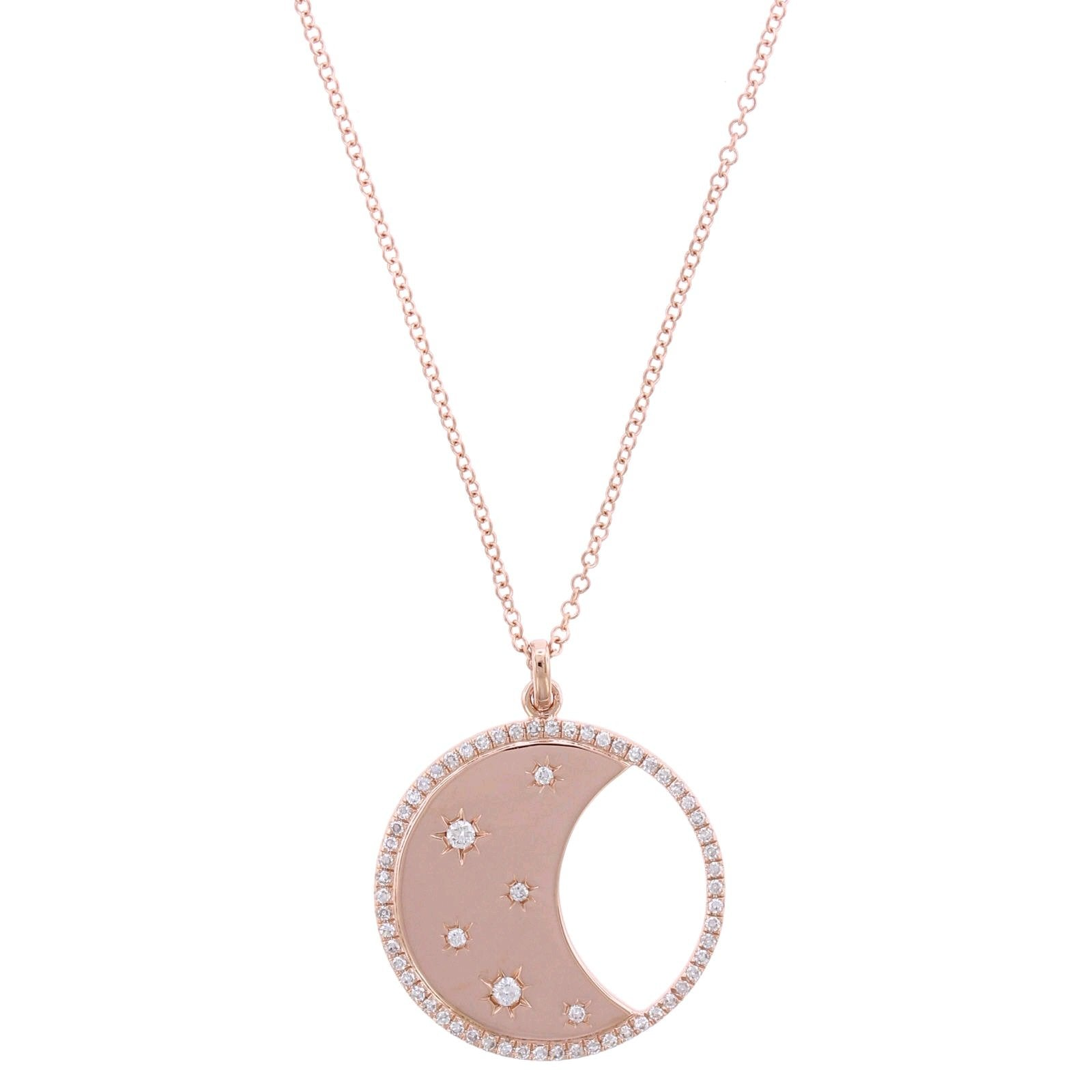 14K Rose Gold Moon and Star Diamond Pendant