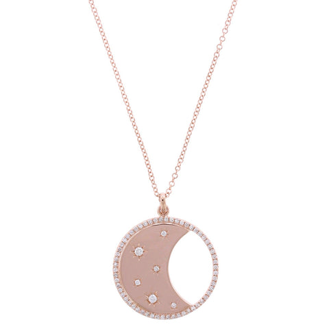 14K Rose Gold Moon and Star Diamond Necklace