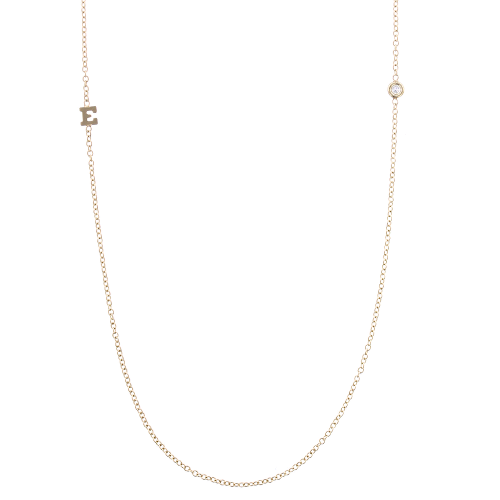 "14K Yellow Gold Tiny Letter Diamond ""E"" Necklace"