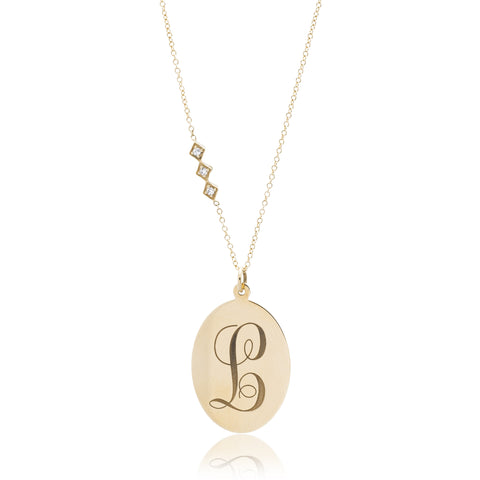 14K Yellow Gold Monogrammed Diamond Necklace
