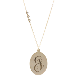 14K Yellow Gold Monogram Disc Diamond Pendant