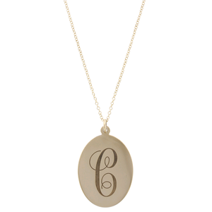 14K Yellow Gold Monogram Disc Pendant