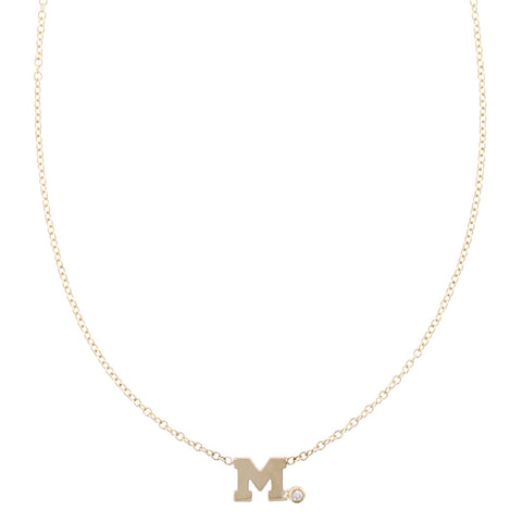 14K Yellow Gold Initial Side Diamond Necklace