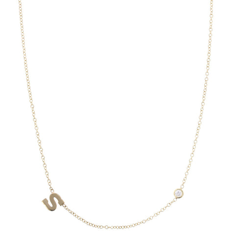 14K Yellow Gold Initial Necklace with Diamond