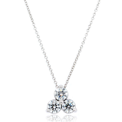 14K White Gold Three Stone Cluster Diamond Pendant