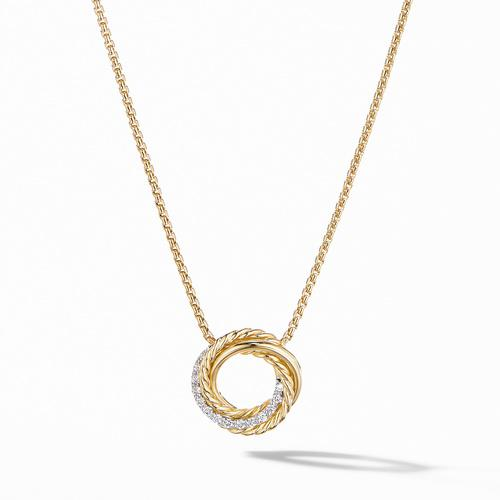 Crossover Mini Pendant Necklace in 18K Yellow Gold with Diamonds