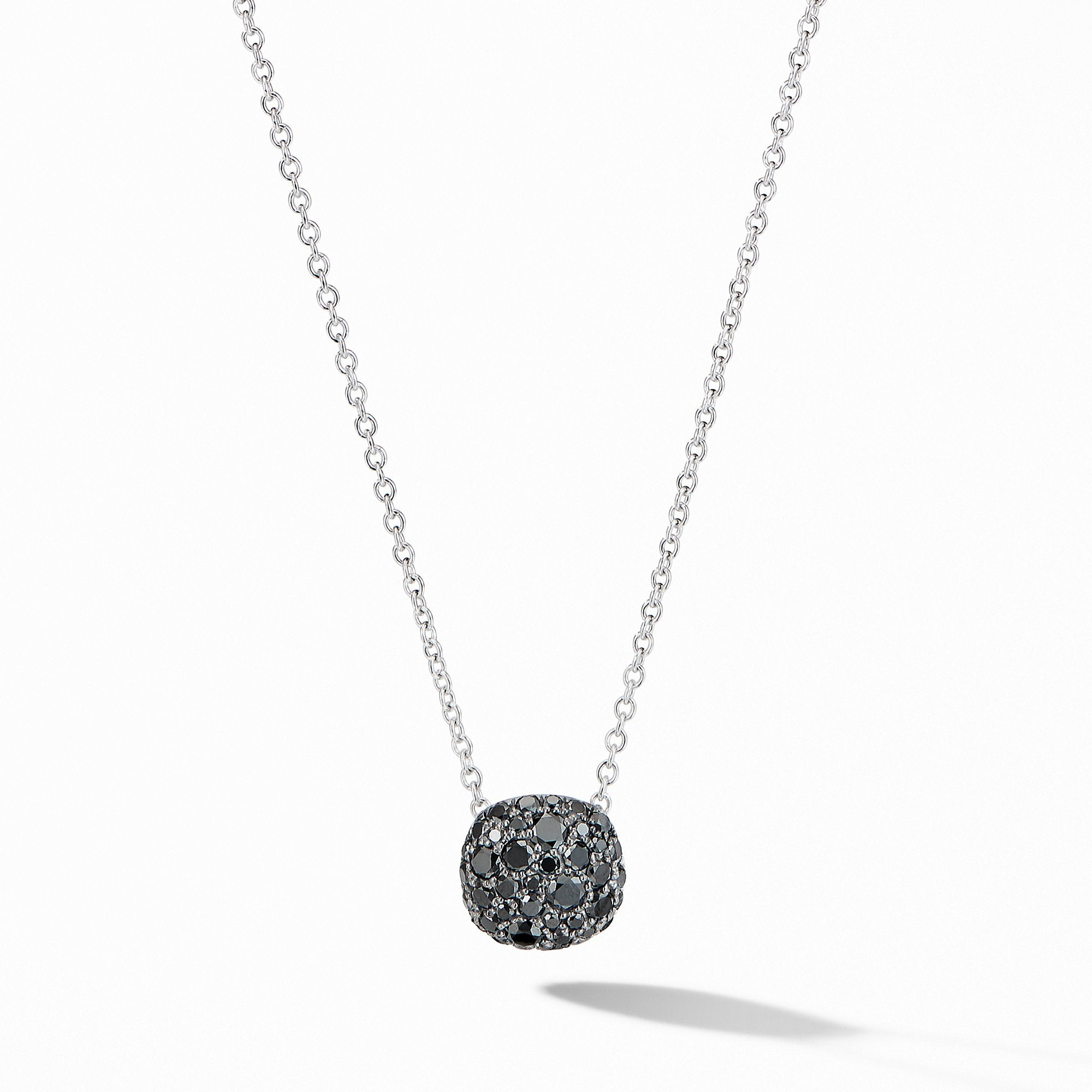 Cushion Stud Pendant Necklace in 18K White Gold with Pavé Black Diamonds