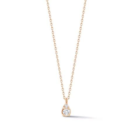 14K Rose Gold Petite Diamond Teardrop Necklace