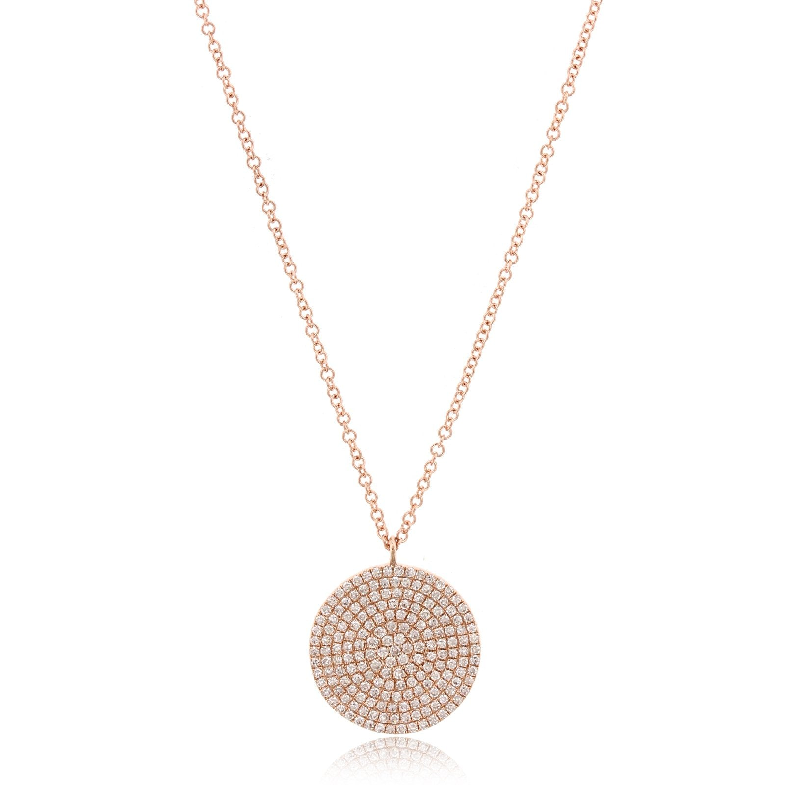 14K Rose Gold Large Diamond Disc Pendant