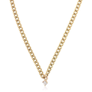14K Yellow Gold Small Curb Chain Diamond Necklace