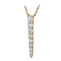 18K Yellow Gold Graduating Diamond Drop Necklace