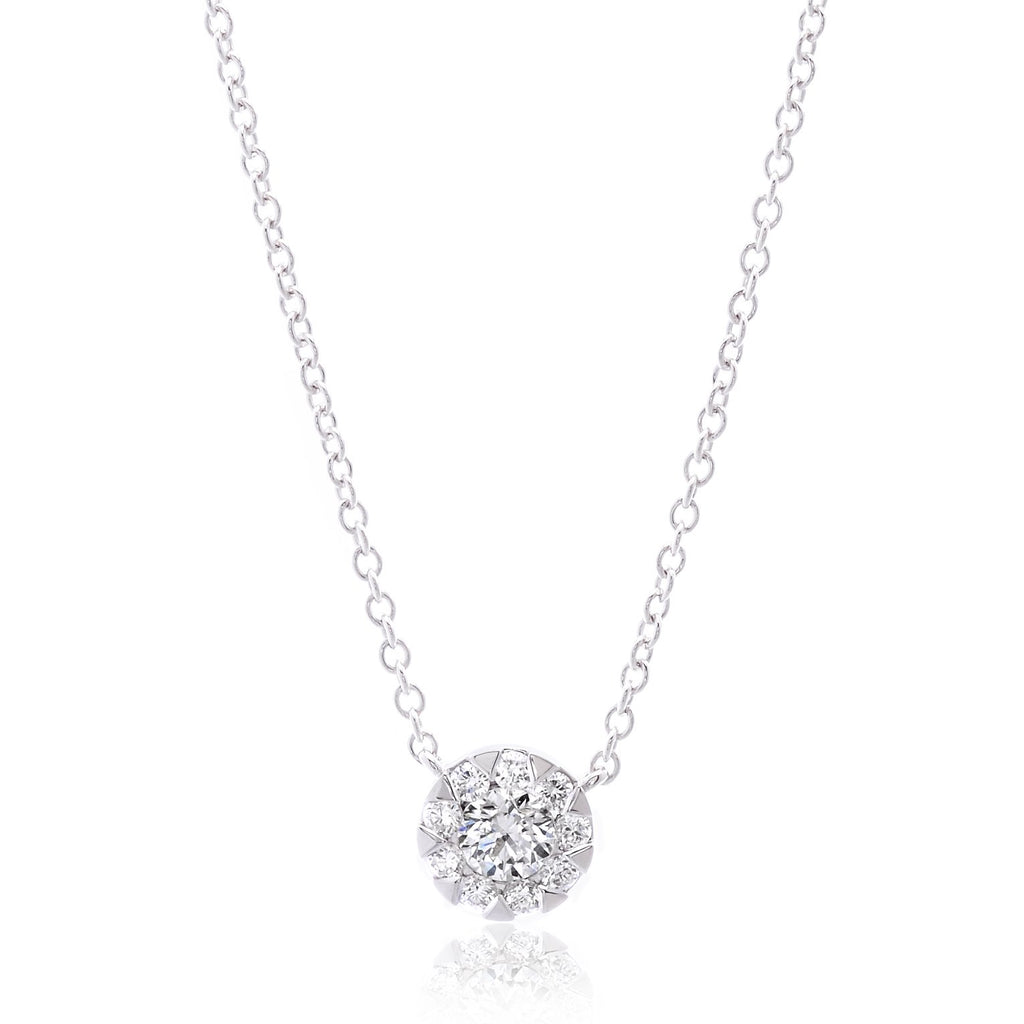 18K White Gold Diamond Bouquet Necklace