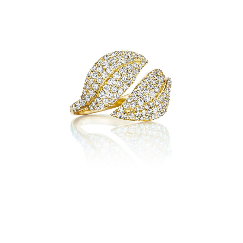 18K Yellow Gold Pave Diamond Leaf Bypass Ring
