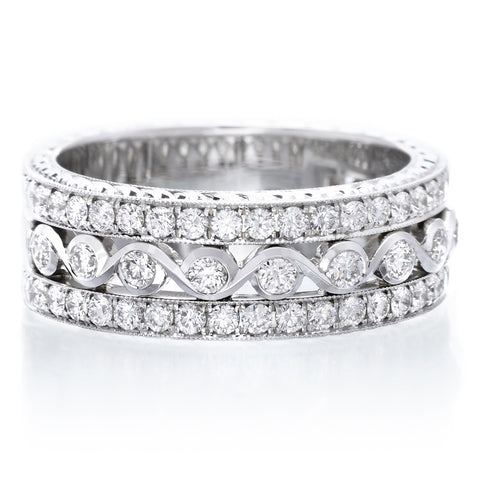 Platinum Prong Set Ascher Eternity Band