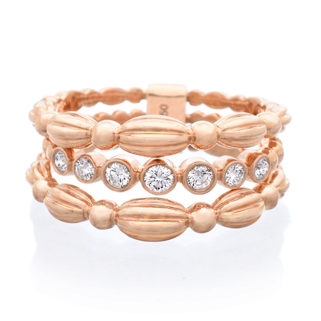 18K Rose Gold Diamond Nutmeg Ring