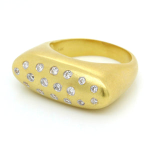 14K Yellow Gold Scattered Diamond Ring