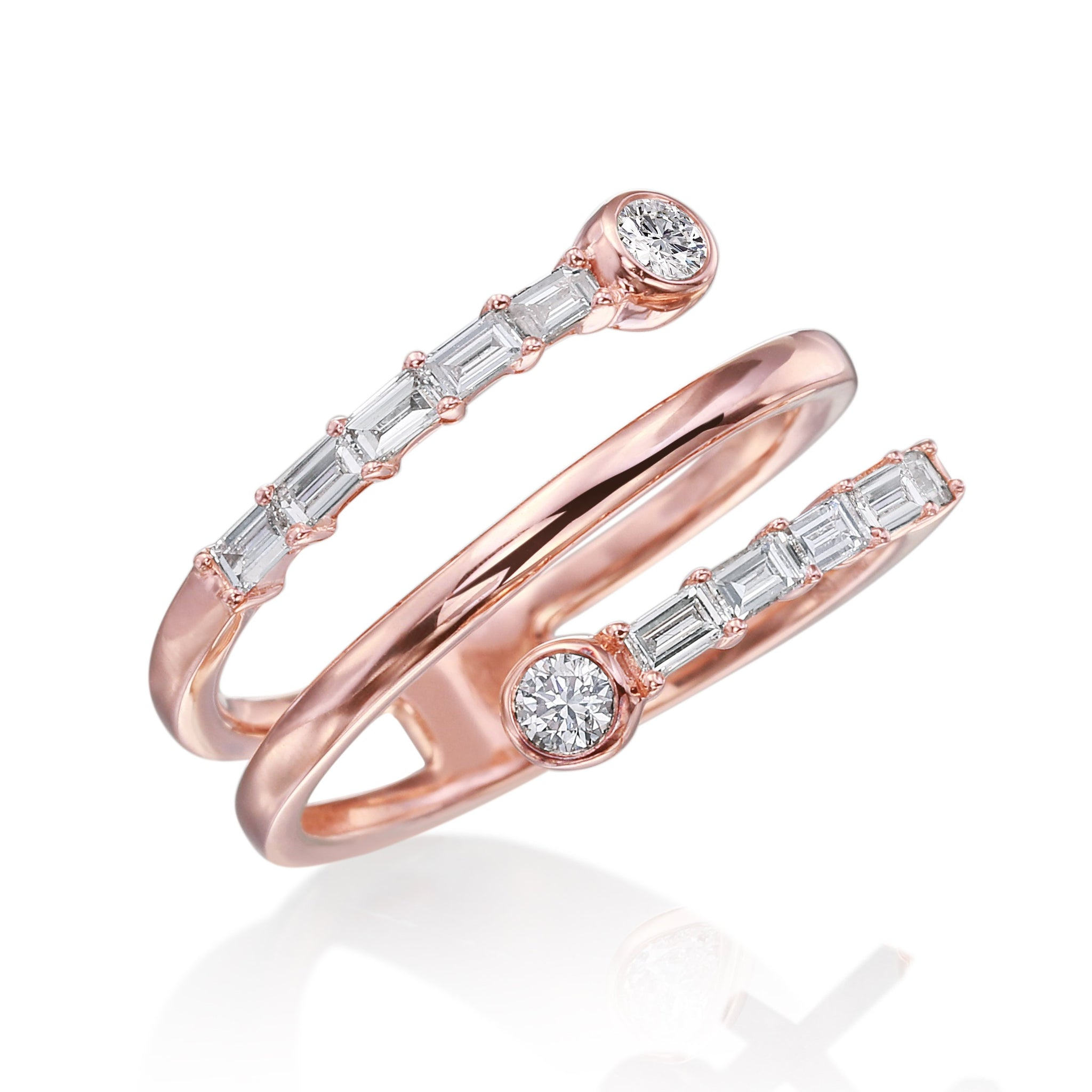 18K Rose Gold Baguette Diamond Band