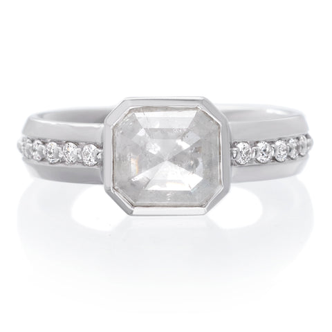 18K White Gold Bezel Cushion Rose Cut Diamond Ring