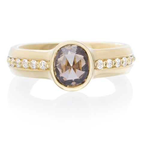 18K Yellow Gold Bezel Oval Rose Cut Diamond Ring