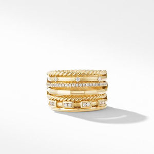 Stax Cable and Pavé Ring in 18K Yellow Gold