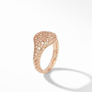 Mini Chevron Pinky Ring in 18K Rose Gold with Pavé Cognac Diamonds