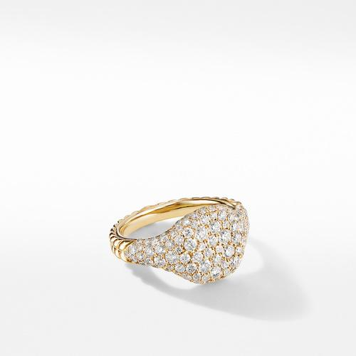 Mini Chevron Pinky Ring in 18K Yellow Gold with Pavé Diamonds