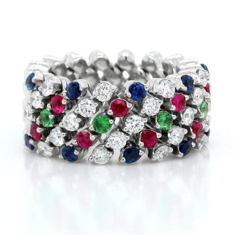 18K White Gold Diamond, Sapphire, Ruby and Tsavorite Ring