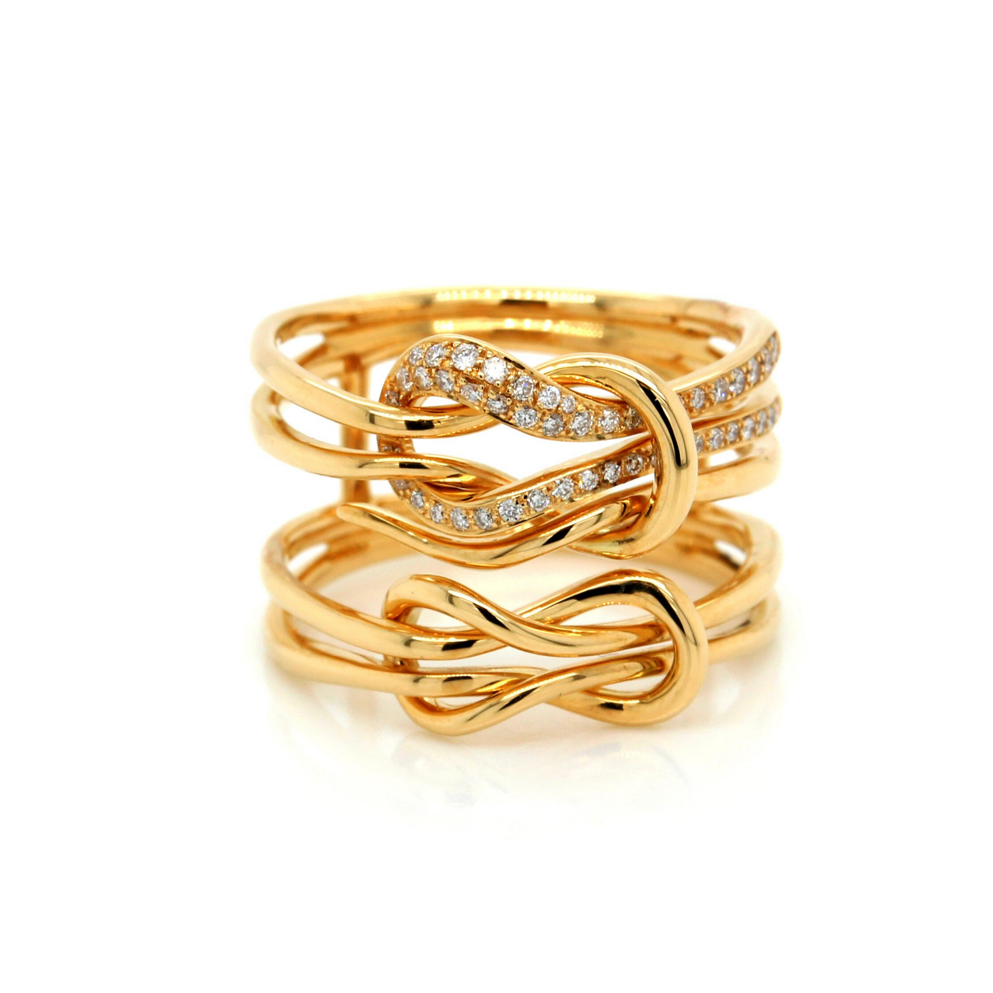 18K Yellow Gold Diamond Knot Ring
