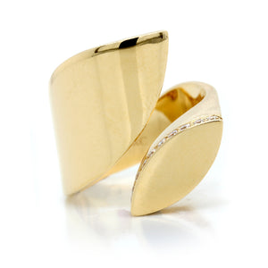 18K Yellow Gold Diamond Petal Ring