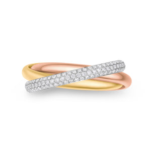 18K Tri-Color Diamond Rolling Rings